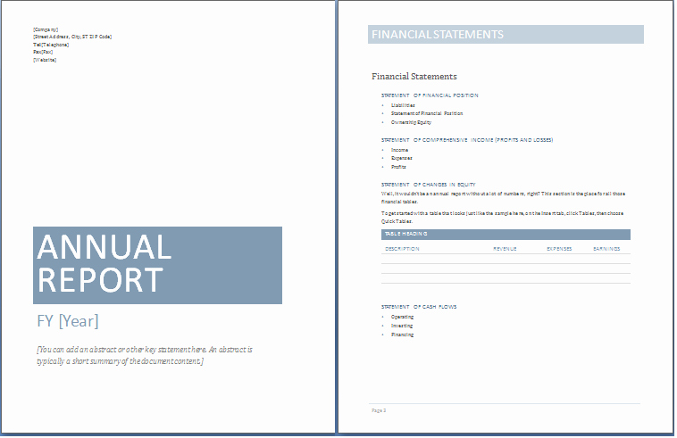 Financial Report Template Word New Annual Report Template