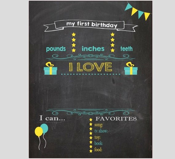 First Birthday Board Template Best Of Blank First Birthday Chalkboard Diy 1st Birthday Board Digital
