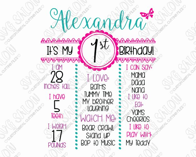 First Birthday Board Template Elegant Girl Birthday Board Template Svg Cut File Set for Cricut
