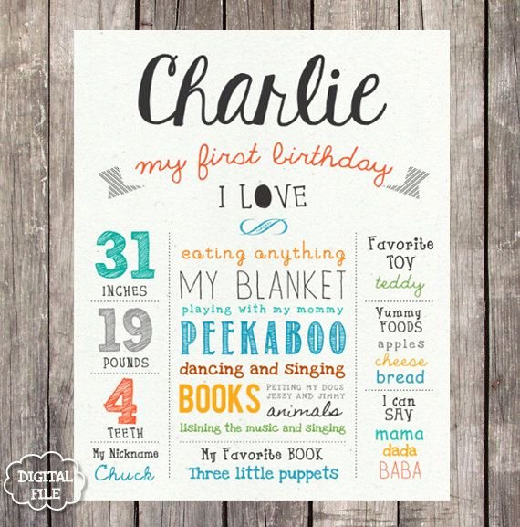 First Birthday Board Template Luxury Digital First Birthday Sign All Things Vans