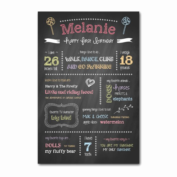 First Birthday Board Template Unique First Birthday Chalkboard Template