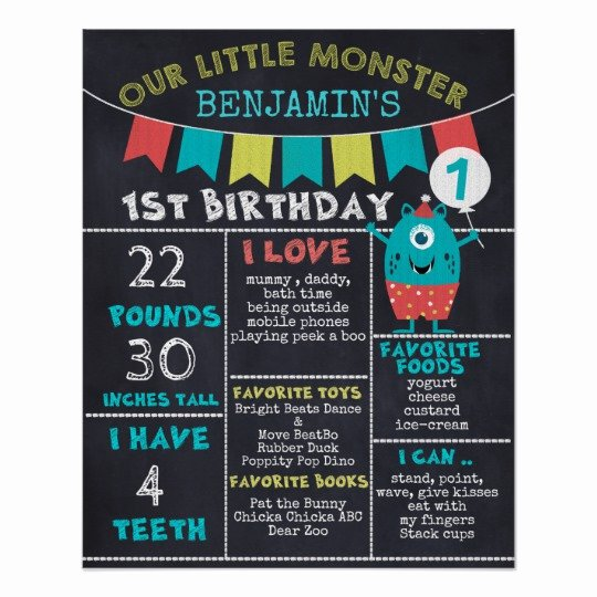 First Birthday Chalkboard Poster Awesome Chalkboard Monster Milestones 1st Birthday Poster