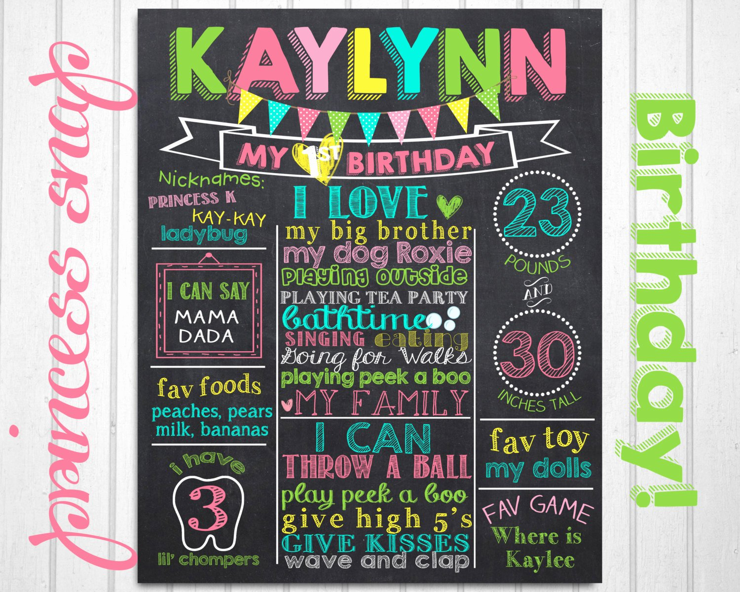 First Birthday Chalkboard Poster Best Of Girl First Birthday Chalkboard Poster 1st Birthday Chalk