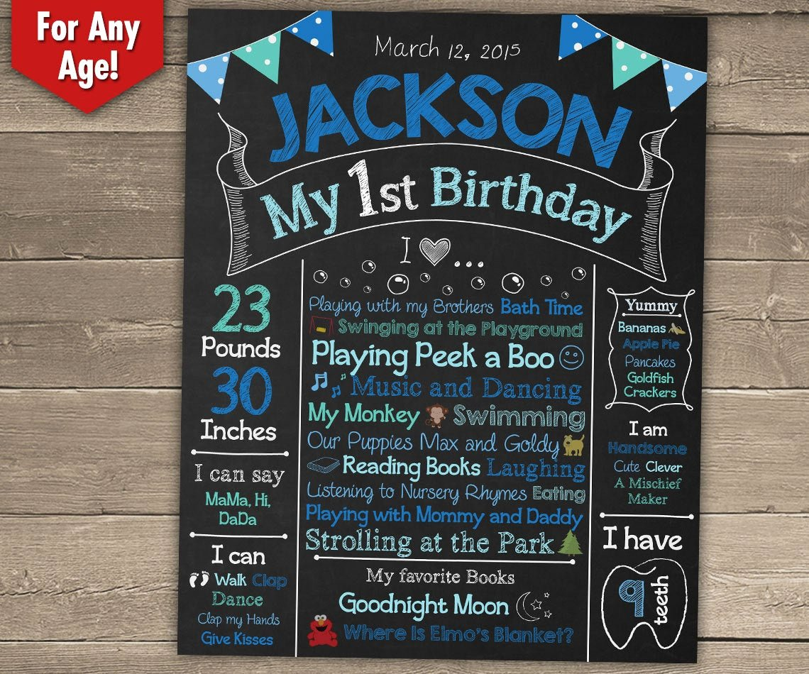 First Birthday Chalkboard Poster Elegant First Birthday Chalkboard Sign 1st Birthday by Chalkyprints