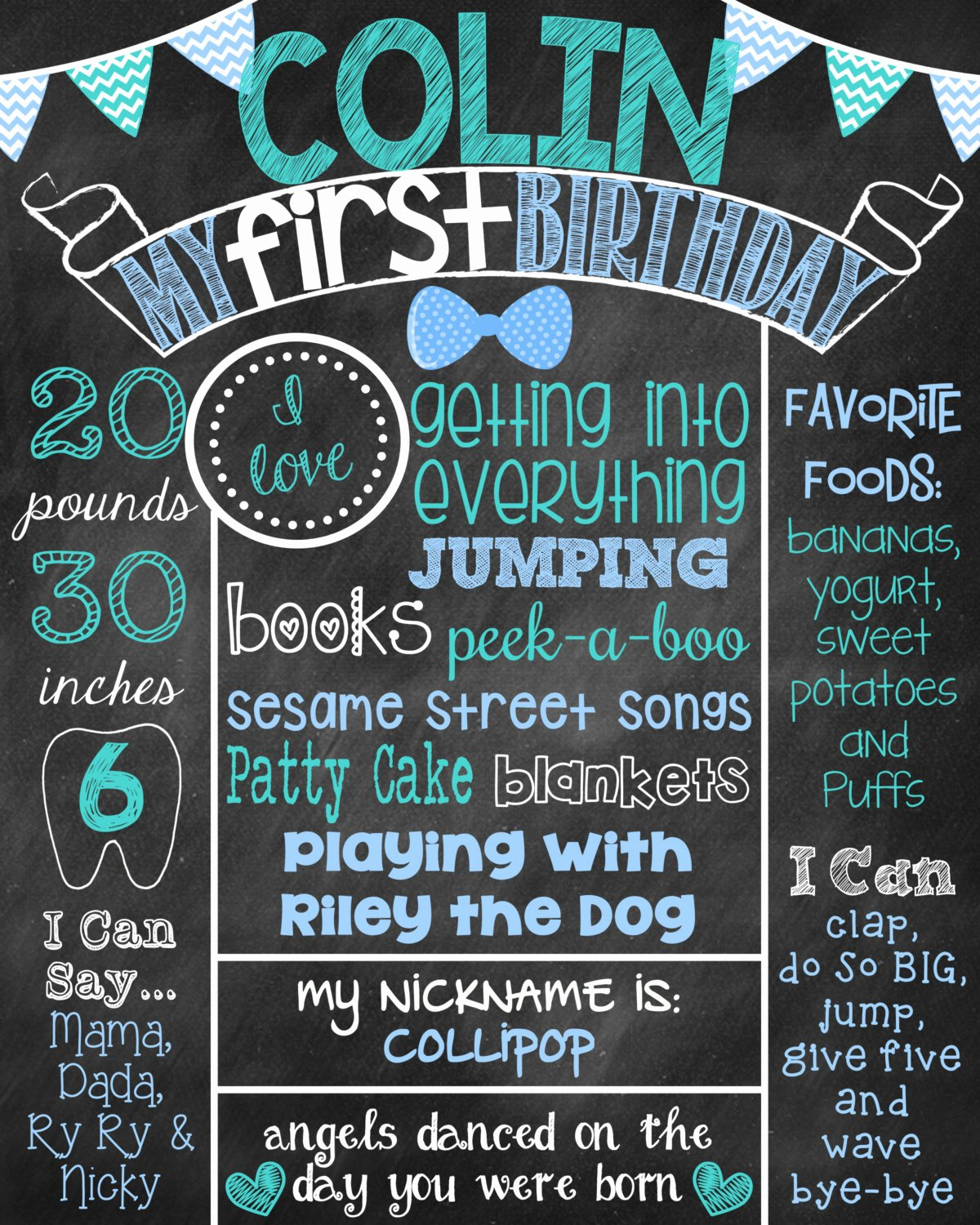 First Birthday Chalkboard Poster Unique Boy First Birthday Chalkboard Poster Sign by