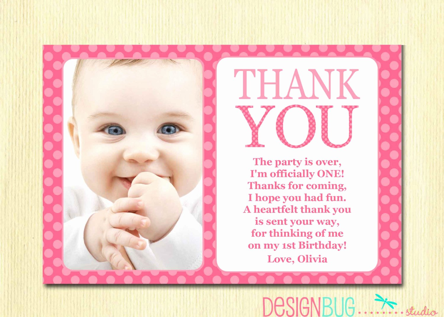 First Birthday Thank You Sayings Awesome First Birthday Matching Thank You Card 4x6 the Big One Diy