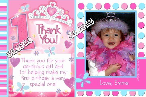 First Birthday Thank You Sayings Awesome Princess 1st Birthday Thank You Cards