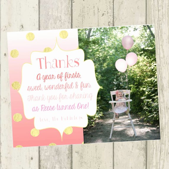 First Birthday Thank You Sayings Elegant Pink Ombre Thank You Card First Birthday Thank You Card