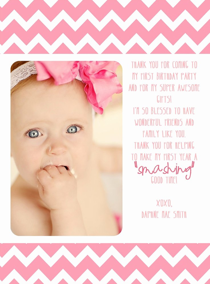 First Birthday Thank You Sayings Fresh First Birthday Thank You Card $12 00 Via Etsy Wish I