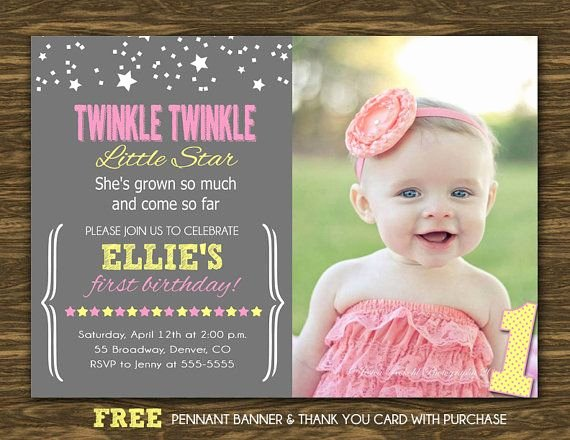 First Birthday Thank You Sayings Fresh Twinkle Twinkle Little Star Birthday Invitation In by