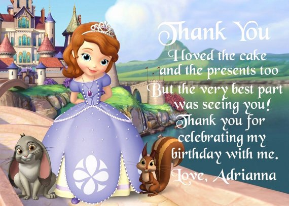 First Birthday Thank You Sayings Inspirational sofia the First Birthday Thank You Card by