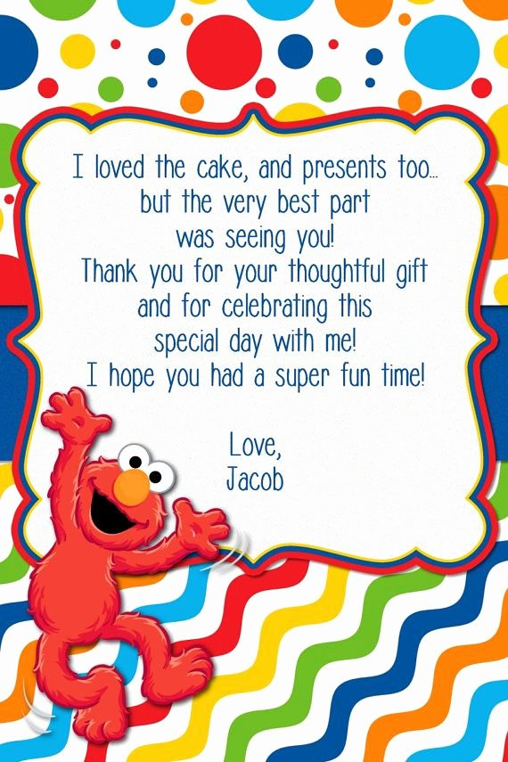 First Birthday Thank You Sayings Lovely Custom Made Elmo Birthday Invitation Elmo by