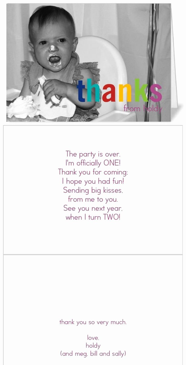 First Birthday Thank You Sayings Luxury Easy Cheater Thank You Cards for First Birthday