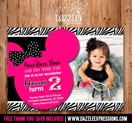 First Birthday Thank You Sayings Luxury Printable Minnie Mouse Birthday Invitation Girls First