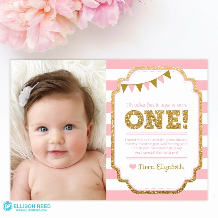 First Birthday Thank You Sayings Unique 1st Birthday Thank You Card 1st Birthday Thank You Note Pink