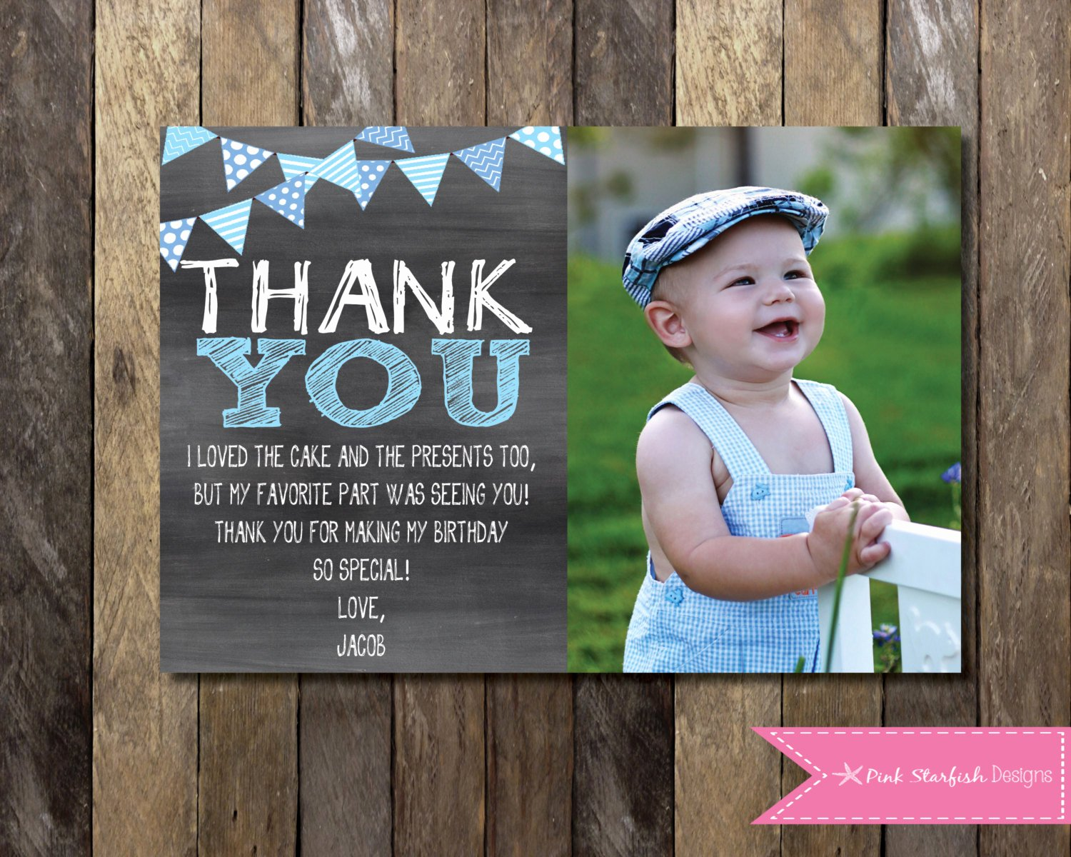 First Birthday Thank You Sayings Unique Chalkboard Thank You Card with Picture Chalkboard Thank You