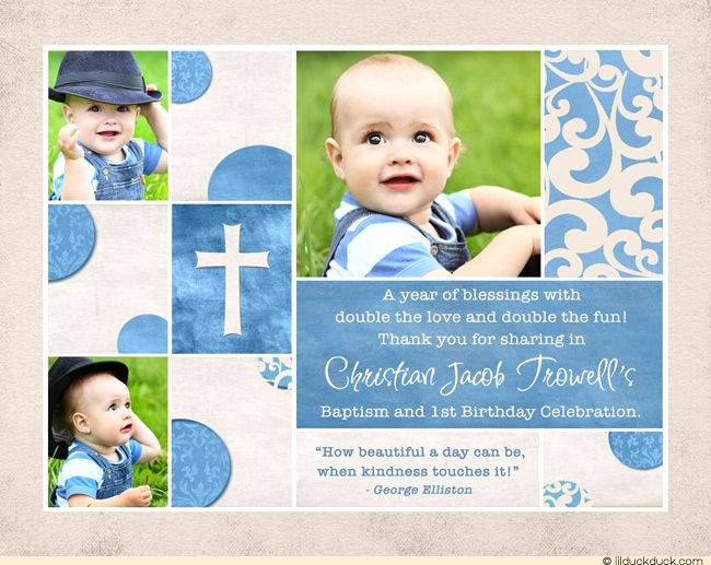 First Birthday Thank You Sayings Unique Chic Baptism or Christening Thank You Card Scrapbook