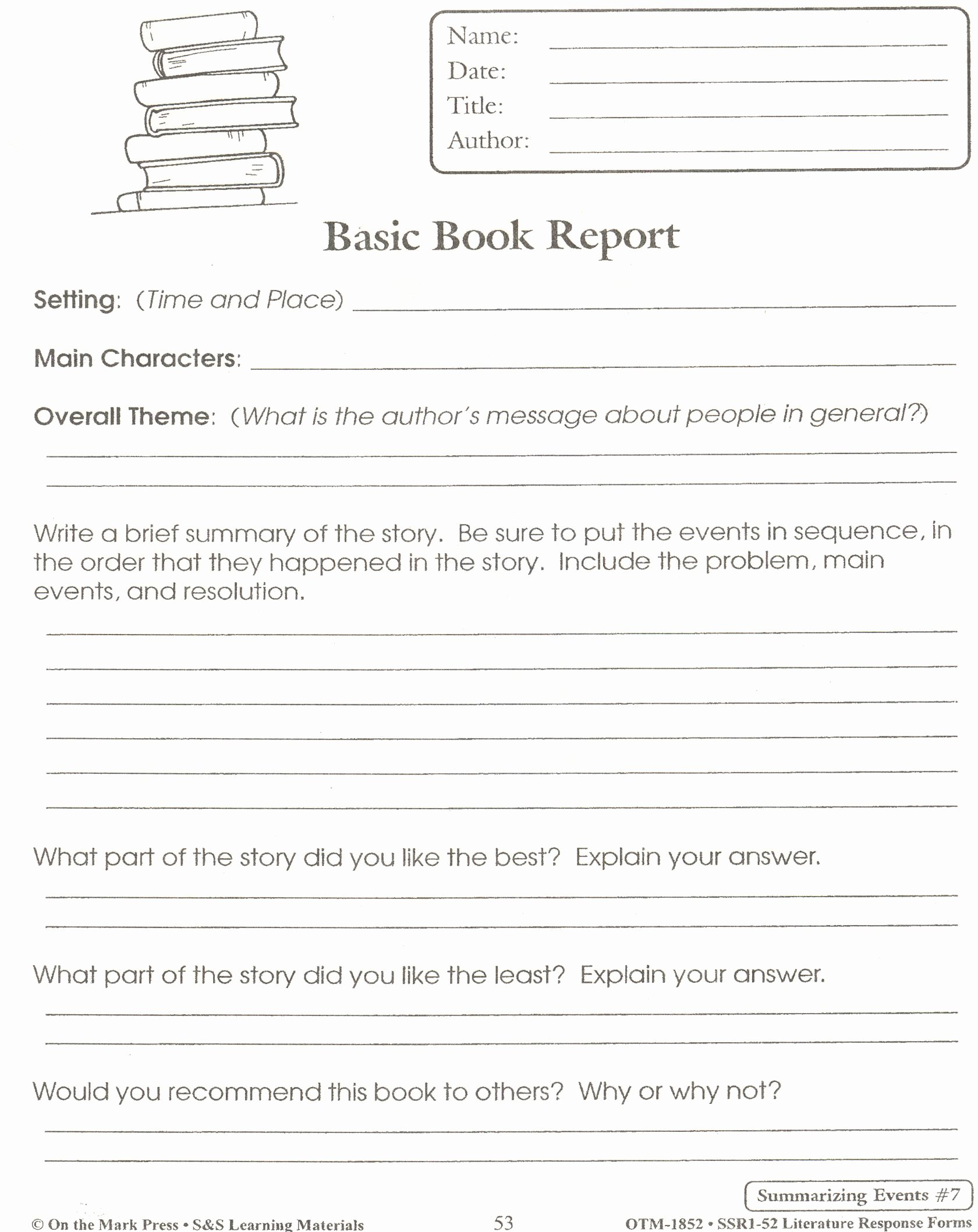 First Grade Report Card Template Elegant 5th Grade Book Report Education