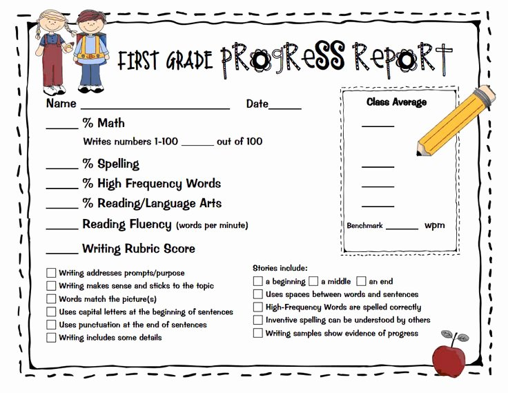 First Grade Report Card Template Luxury 14 Best Images About Progress Reports On Pinterest