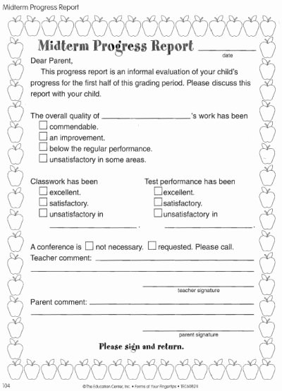 First Grade Report Card Template Luxury Midterm Progress Report organització Aula