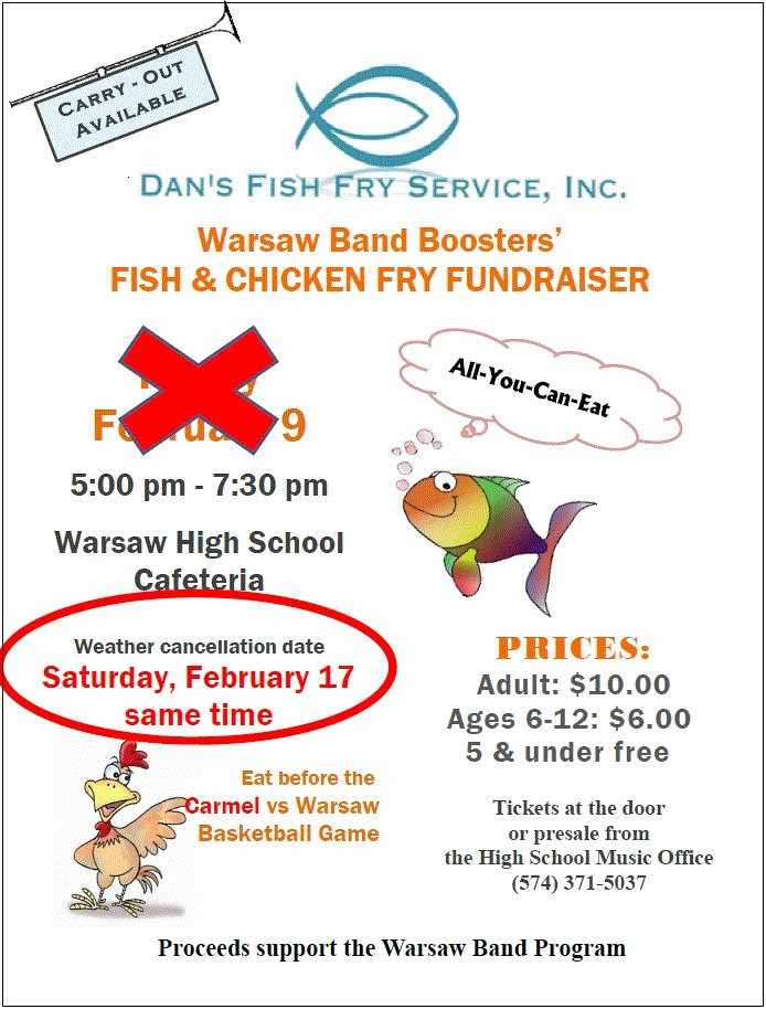 Fish Fry Fundraiser Flyer Awesome Warsaw High School Band Boosters Fish & Chicken Fry