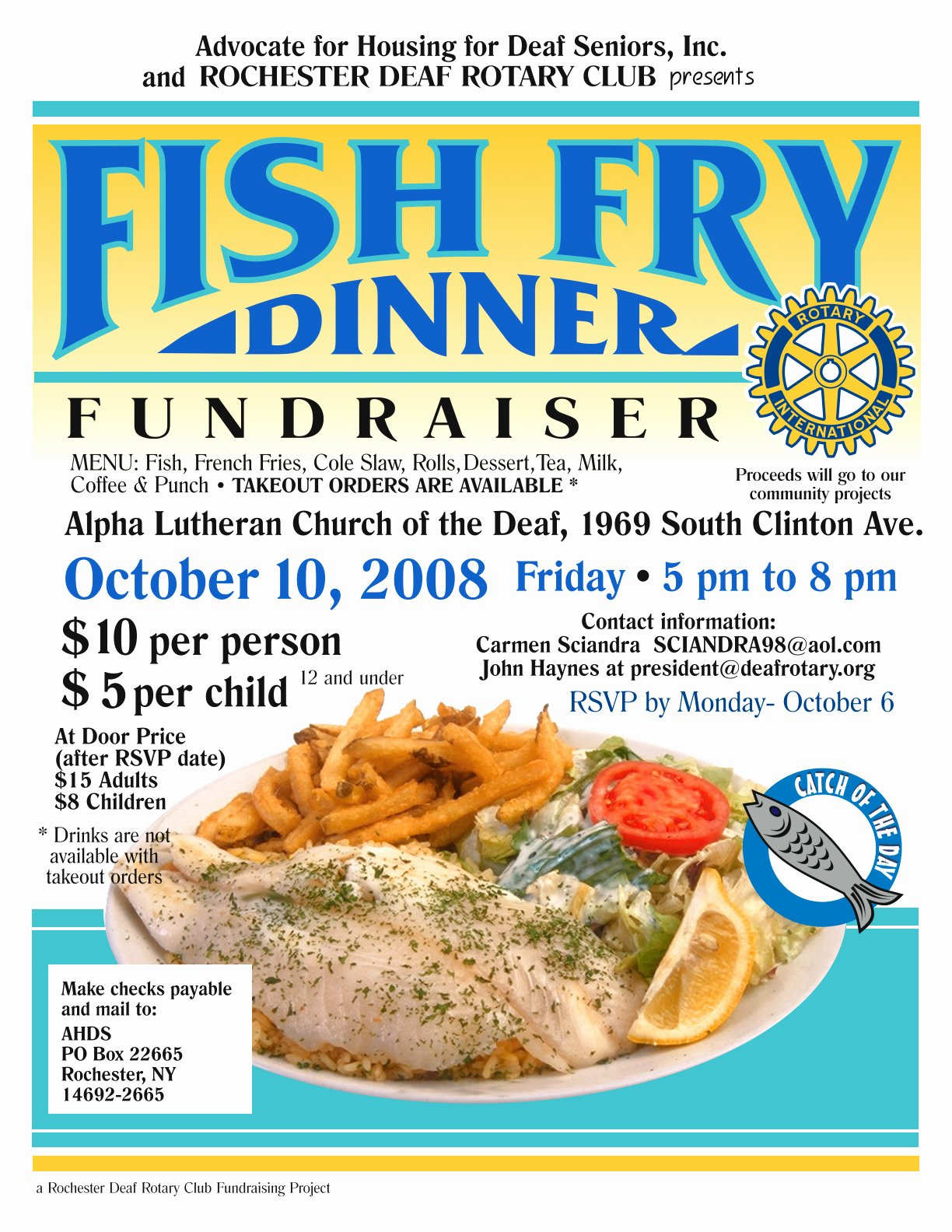 Fish Fry Fundraiser Flyer Luxury Fish Fry Dinner event October 10 2008