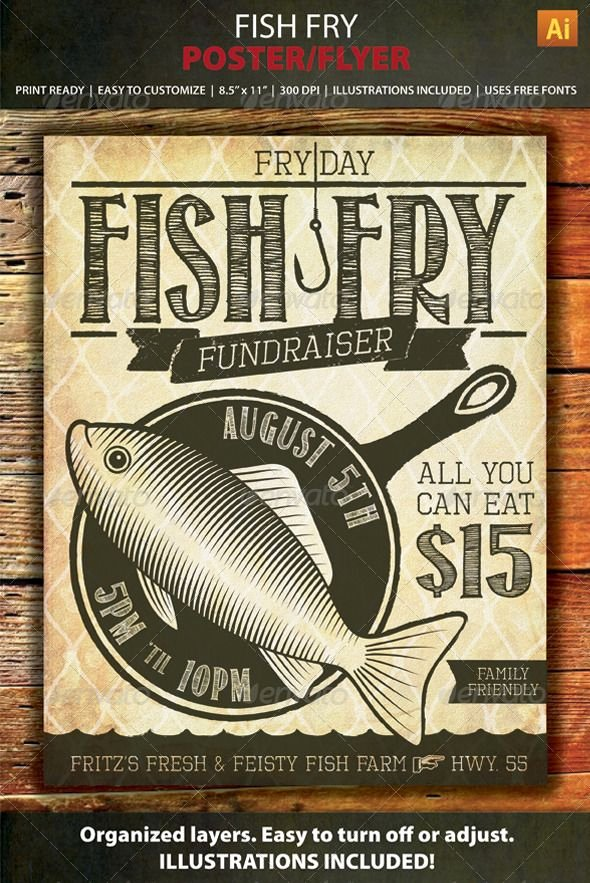 Fish Fry Fundraiser Flyer New Fish Fry event Fundraiser Poster Flyer or Ad