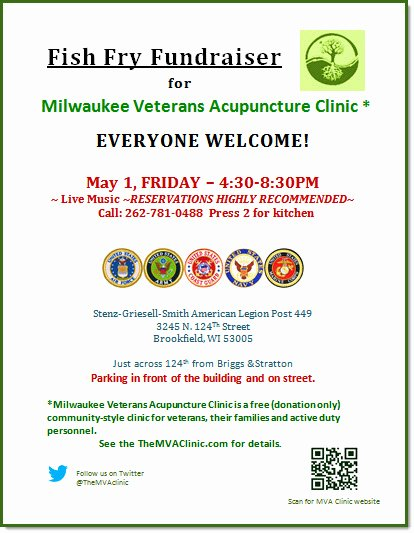 Fish Fry Fundraiser Flyer New Milwaukee Veterans Acupuncture Military Stress Recovery