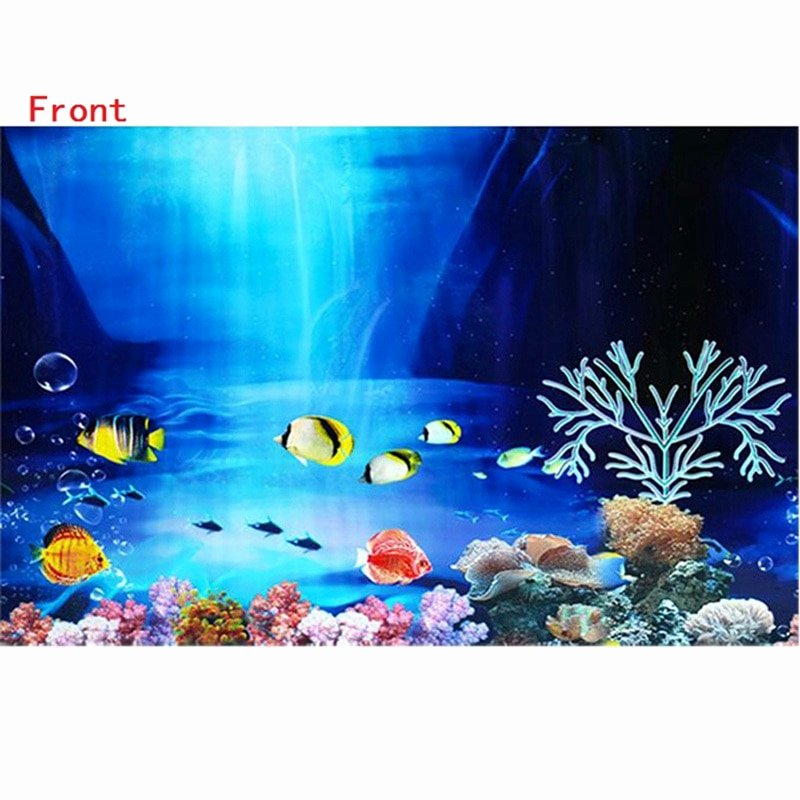 Fish Tank Background Paper Luxury 3d Drawing Fish Tank Background Sticker Double Faced