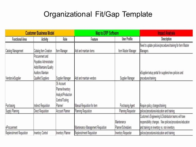 Fit Gap Analysis Template Inspirational Erp Project 101 organizational Fit Gap
