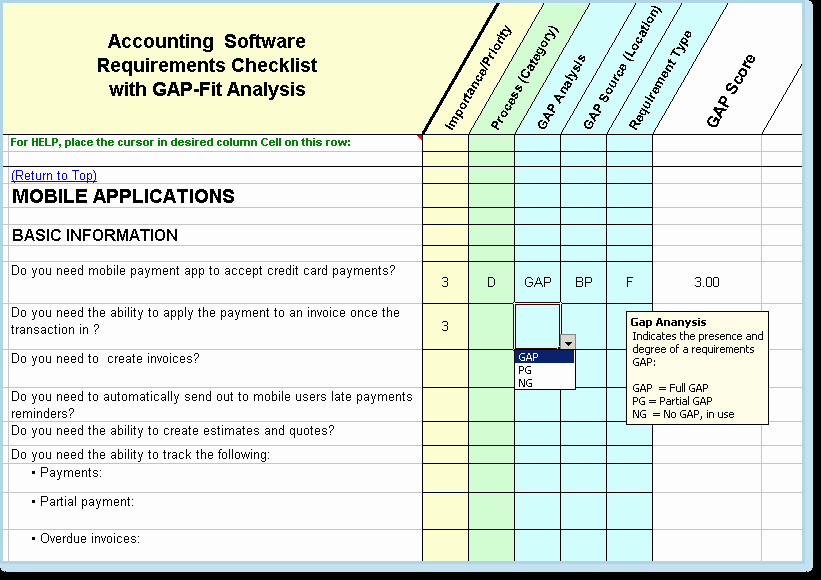 Fit Gap Analysis Template New Application assessment Checklist