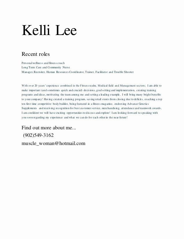 Fitness Manager Cover Letter Beautiful Kelli Lee Cover Letter