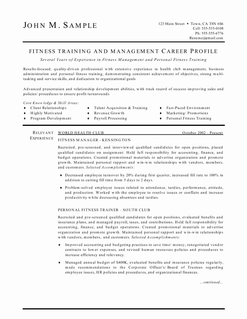 Fitness Manager Cover Letter Elegant Fitness Trainer and Manager Resume