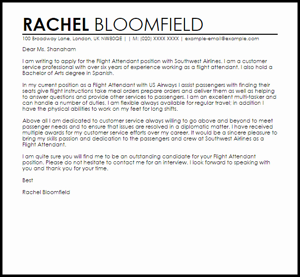 Flight attendant Cover Letter Example Awesome Flight attendant Cover Letter Sample
