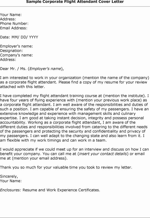 Flight attendant Cover Letter Example Beautiful Cover Letter How to Type Correct Flight attendant Cover