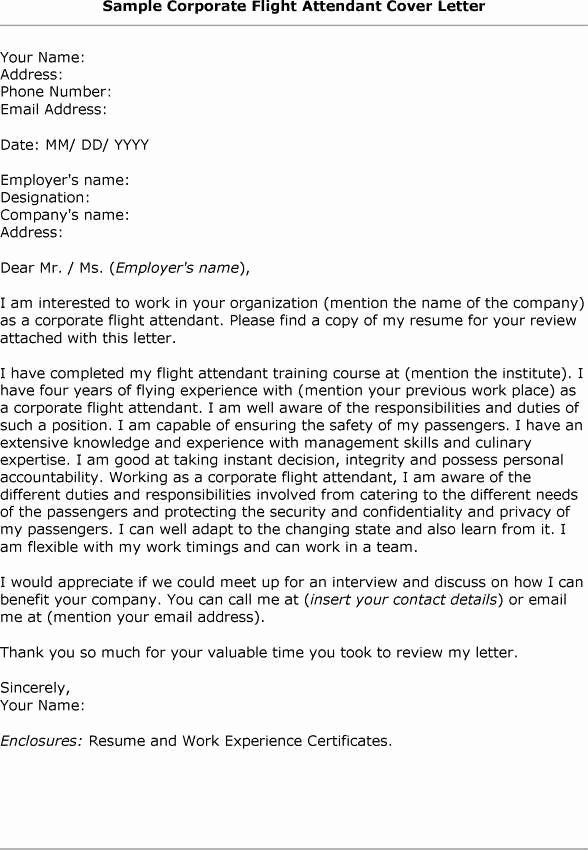 Flight attendant Cover Letter Example Beautiful Cover Letter How to Type Correct Flight attendant Cover