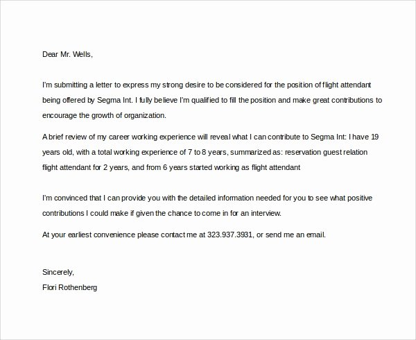 Flight attendant Cover Letter Example Beautiful Sample Flight attendant Cover Letter 6 Free Documents