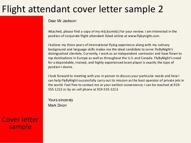 Flight attendant Cover Letter Example Fresh Flight attendant Cover Letter