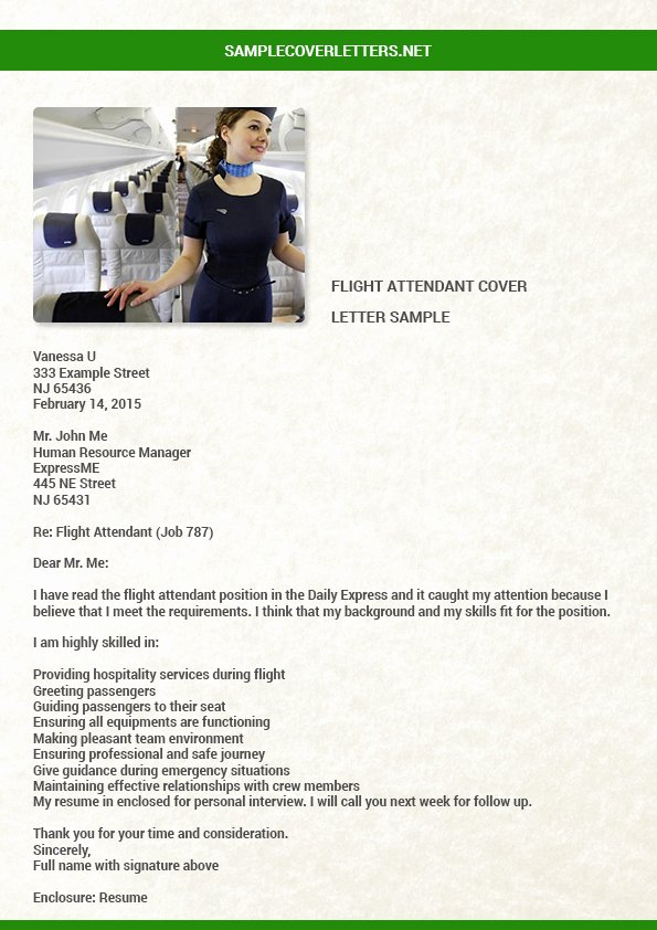 Flight attendant Cover Letter Example Luxury Flight attendant Cover Letter Sample