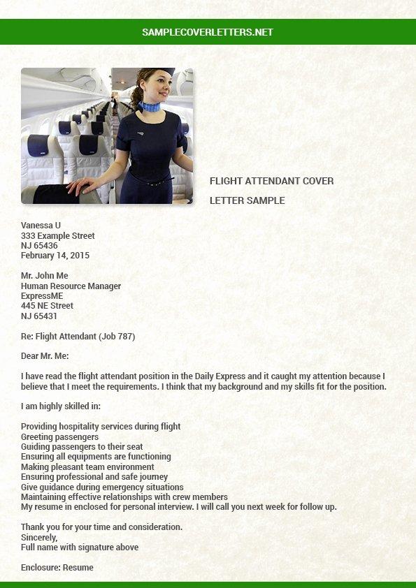 Flight attendant Cover Letter Example Luxury Flight attendant Cover Letter Sample
