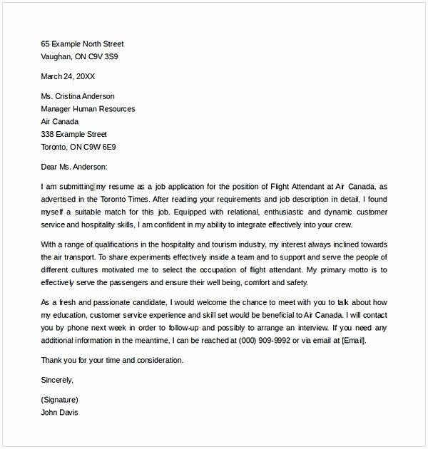 Flight attendant Cover Letter Example New Flight attendant Cover Letter