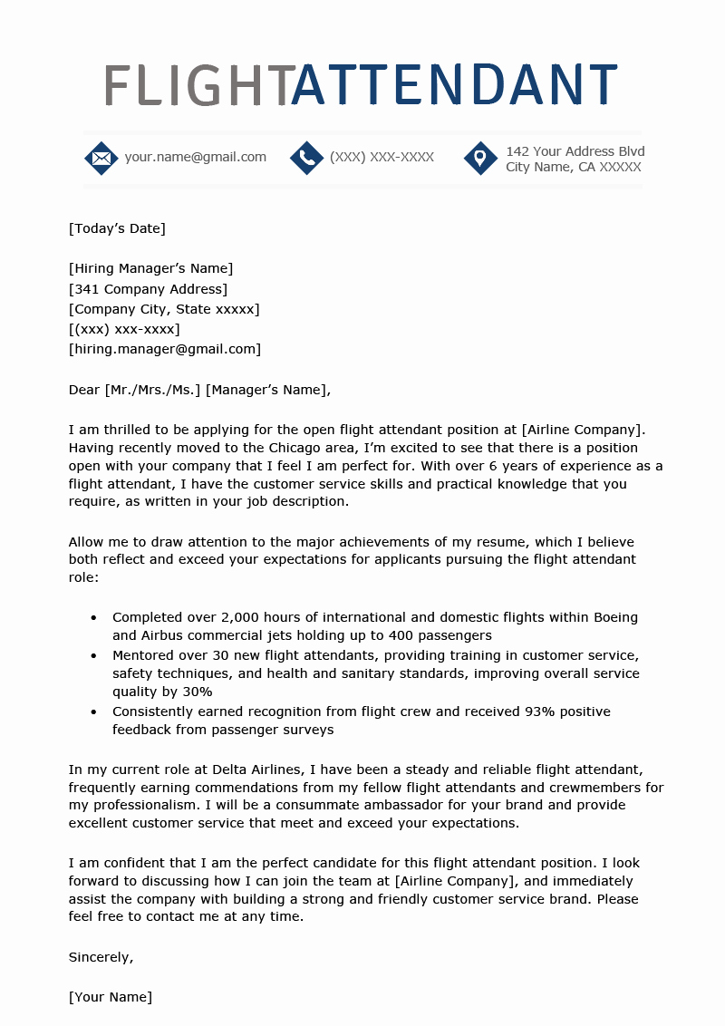 Flight attendant Cover Letter Example New Flight attendant Cover Letter Sample