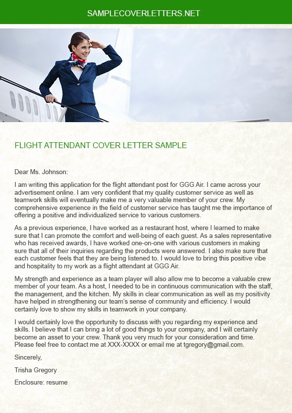 Flight attendant Cover Letter Example Unique Flight attendant Cover Letter Sample