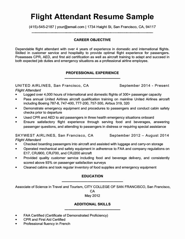 Flight attendant Cover Letter Sample Awesome Flight attendant Resume Sample & Writing Tips