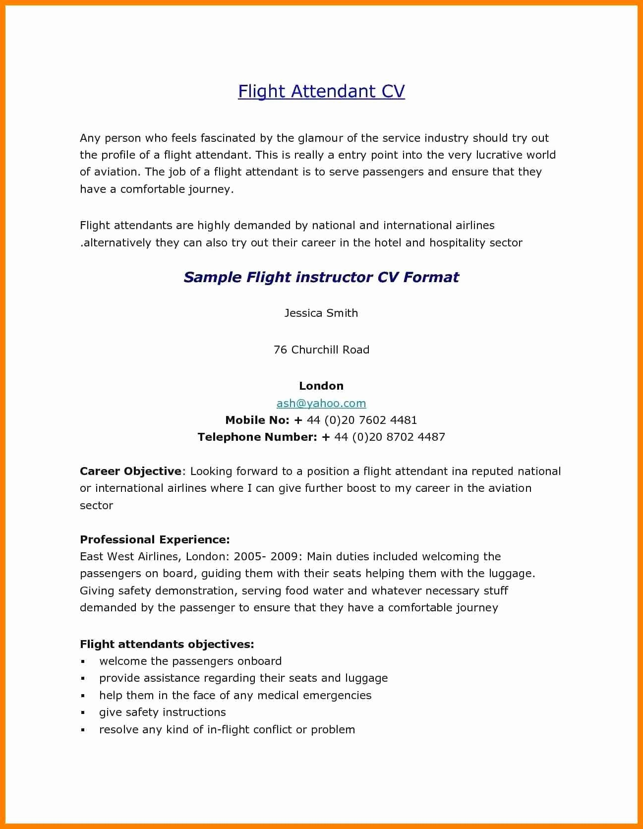 Flight attendant Cover Letter Sample Luxury 11 Cv for Cabin Crew with No Experience
