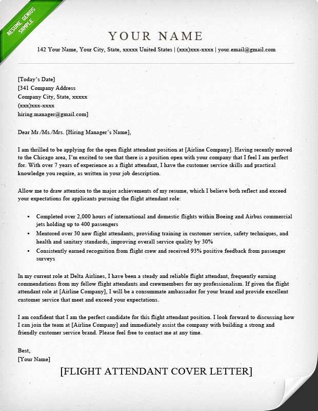 Flight attendant Resume Cover Letter Best Of Flight attendant Cover Letter Sample