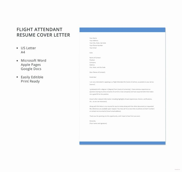 Flight attendant Resume Cover Letter Luxury 17 Cover Letter Examples