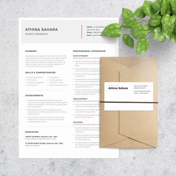 Flight attendant Resume Cover Letter Unique Flight attendant Resume Template Cover Letter Included