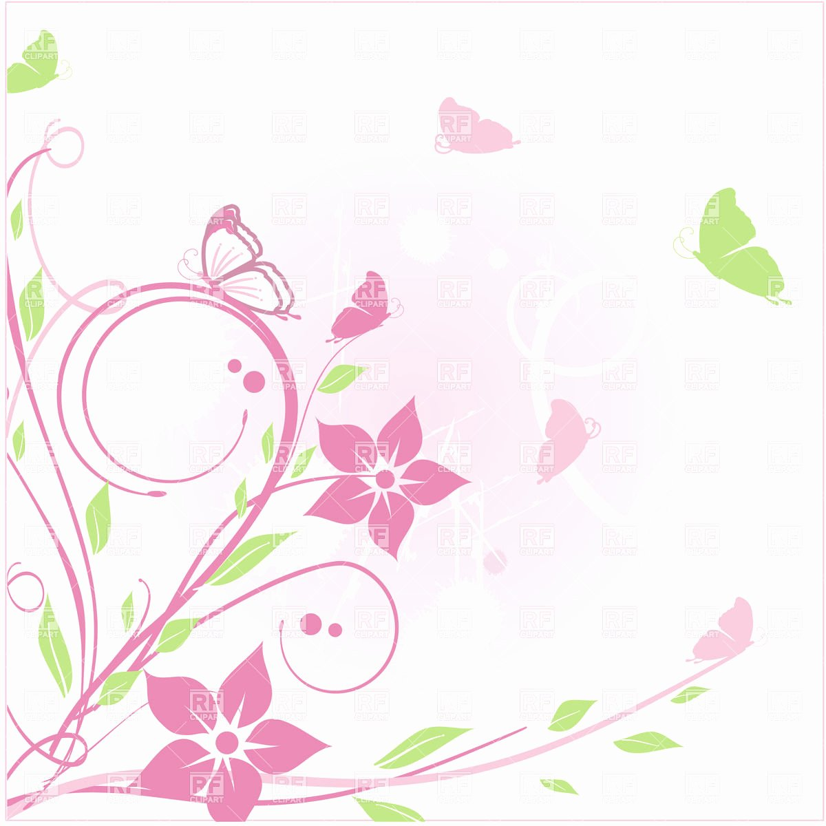 Flower Background Design Images Beautiful Simple Floral Background with Curly Twigs and butterfly