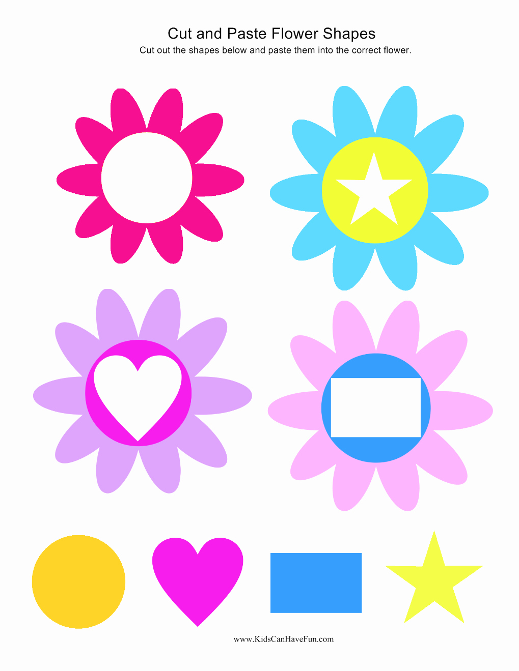 Flower Shapes to Cut Out Elegant Cut and Paste Kindergarten Preschool Worksheets